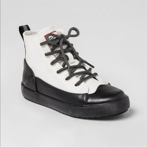 White Blk Hunter Target Lace Up Ankle Boots Adult